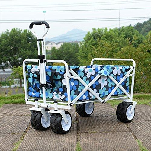 DELLT- Trolley portable de cuatro vueltas/viaje que acampa que pesca el carro/van del carro que hace compras carro pequeño/carga 68 kilogramos (Color : Azul)