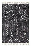 Urban grau 6396 183 040 - Hochflor Webteppich - Schöner Wohnen - moderner Berber Look - 4 Designs in Grau und Creme in 4 Größen. Shaggy, pflegeleicht, antistatisch, fußbodenheizungsgeeignet(200 x 290 cm)