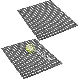 mDesign tapis évier décoratif (lot de 2) – protection évier contre la saleté et les rayures – tapis d'évier extra-grand en PV