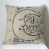 Dekokissen Bettwäsche Leinen Baumwolle Kissenbezug pillow cover 45x45 (Mond)
