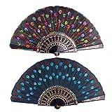 Yansion bordado lentejuelas tela de ventilador abanico hecho a mano mano elegante elegante bordado colorido pavo real y abanico de flores mano para mujeres 2pcs. (Negro y azul)
