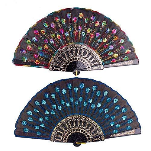 lletten Fan Tuch handgemachte Falten Hand Fan elegante bunte bestickt Pfau und Blumenmuster Hand Fan für Frauen 2 Stück. (Schwarz und blau) ()