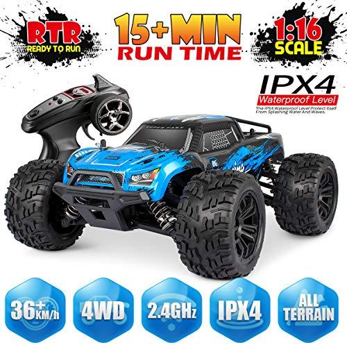 Hosim Fernsteuertes Auto 1:16 Maßstab, RC Offroad Car 4WD, Elektronische Monstertruck, Outdoor Spielzeug für Kinder & Erwachsen (Blau) Modellnummer: G174