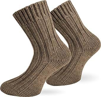 2 Paar Sehr warme Alpaka Wollsocken für Damen und Herren / wie Handgestrickt ! waschmaschienenfest ! Beige Größe 35-38