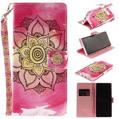 Ooboom® iPhone X Hülle Flip PU Leder Handy Tasche Case Cover Schutzhülle Wallet Standfunktion Kartenfach für iPhone X - Iris Blume Rosa