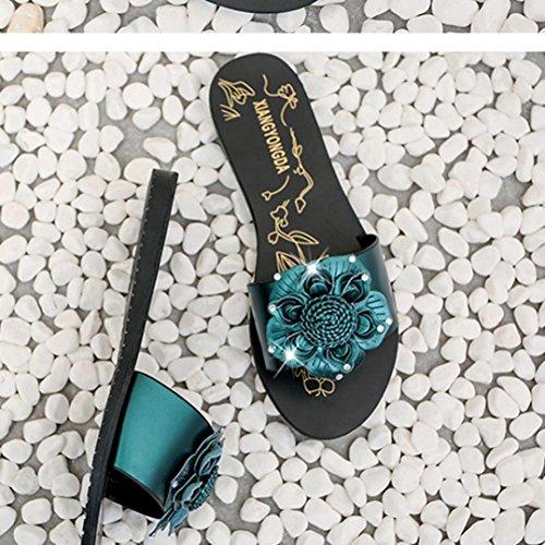 Transer® Damen Flach Slipper Strass Blume Kunstleder+Kunststoff Schwarz Wein Grün Hausschuhe (Bitte achten Sie auf die Größentabelle. Bitte eine Nummer größer bestellen. Vielen Dank!) Grün