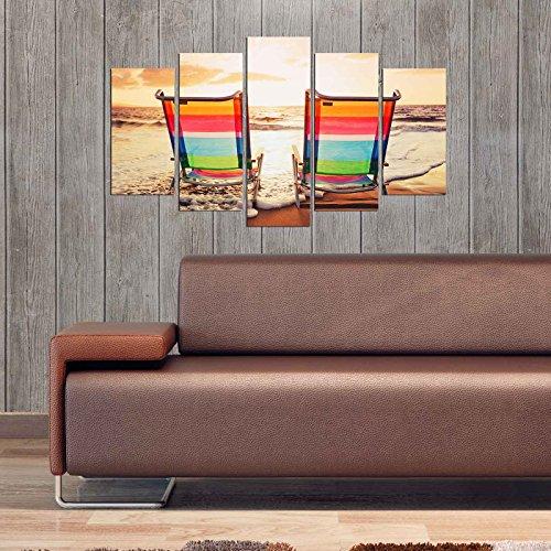 LaModaHome Deko 100% MDF Art Wand 5Elementen (109,2x 61cm Gesamt), fertig Zum Aufhängen Malen...