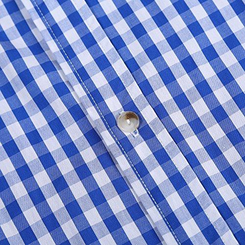KoJooin Trachten Herren Hemd Trachtenhemd Langarmhemd Freizeithemd Baumwolle - für Oktoberfest, Business, Freizeit (2XL, Blau1) - 5