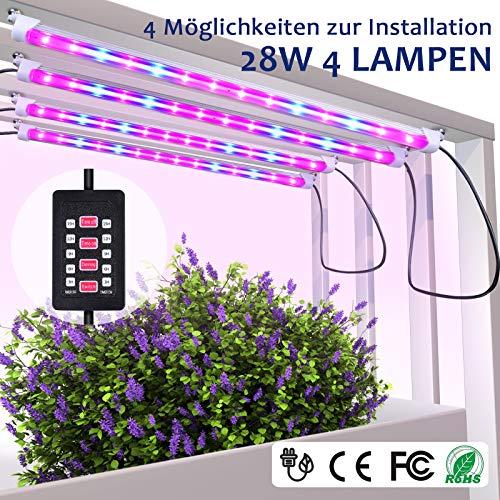 MIXC Led Pflanzenlampe Vollspektrum 28W 56 LEDs Grow Light mit automatisch Timer (3/6/9/12/15H) An aus, Dimmbar 5 Stufen für Samen Pflanze Blumen mit 10 Pflanzenetiketten 2 Gartengeräte