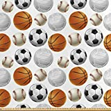 ABAKUHAUS Sport Satin Stoff als Meterware, Fußball und