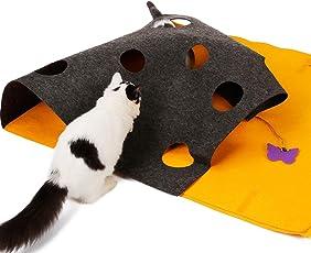 ubest Kratzmatte Katzenspielzeug Kratzspielzeug Intelligenzspielzeug mit Glöckchen, Interaktives Spielzeug Katze, Ideal für Scratching Beschäftigung und Versteckspiel