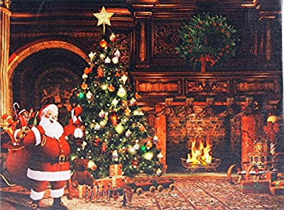 Christmas Decoration Light Up LED Canvas Wall Picture - Santa Log Fire Scene - low-cost UK light store.