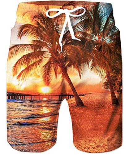 TUONROAD 2XL Herren Badehose 3D Druck Strand Palme Hawaii Badeshorts Schnelltrocknend Schwimmhose Elastischer Bund und Einstellbarer Kordelzug Beachshorts Boardshorts Surfshorts Männer Jungen-XXL - Strand Bermuda Shorts