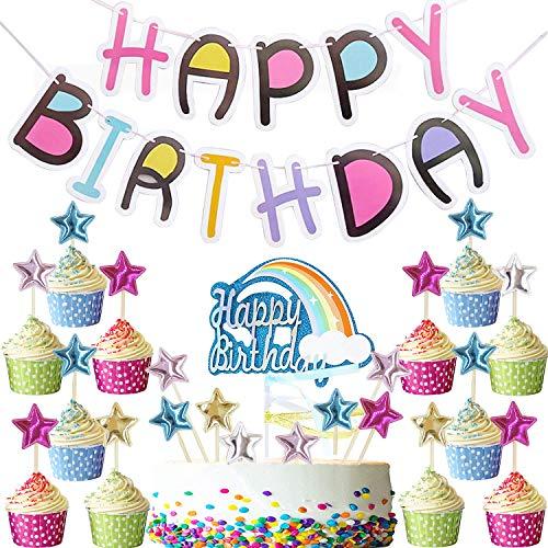 Callaia Happy Birthday Girlande Bunt, Regenbogen Kuchen Topper Und 25 Stücks Sterne Cupcakes Toppers, Geburtstag Party Dekoration Set