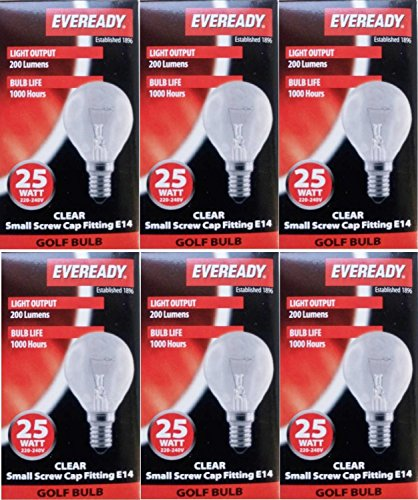 6 x EVEREADY 25W Classic Mini Globes SES E14 Clear Round Light Bulbs, Small Edison Screw Cap, Golf Ball Incandescent Dimmable Lamps, 200 Lumen, Mains 240V, P45/G45