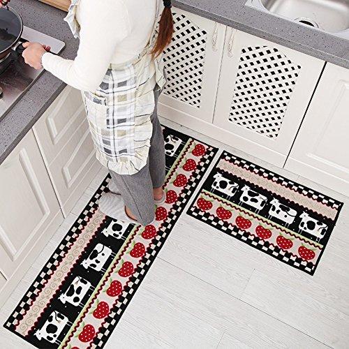 indeedshare cocina alfombra decorativa de refuerzo de goma antideslizante Felpudo alfombra área entrada mats conjuntos 2piezas Cow