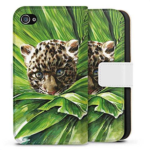 Apple iPhone X Silikon Hülle Case Schutzhülle Leoparden Baby dschungel Raubtier Sideflip Tasche weiß
