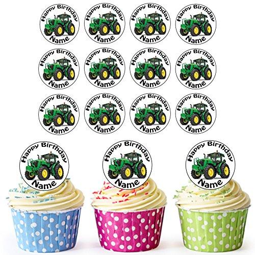 Vorgeschnittener Personalisierter Grüner Traktor - Essbare Cupcake Topper / Kuchendekorationen (24 Stück)