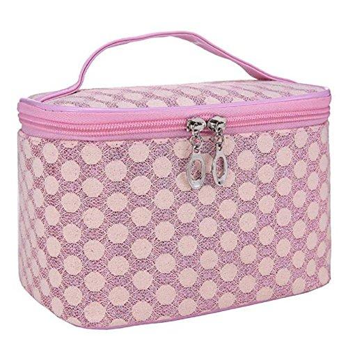Sac à main, FEITONG Cosmetic Bag Quartet femmes Dot Gauze Portable Rose