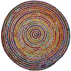 Redonda de comercio justo multicolor algodón/yute trenzado alfombra materiales reciclados, tela, Varios Colores, 90cm Diameter