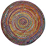 The Indian Arts Fair Trade rund Multi Farbe Baumwolle/Jute Geflochten Teppich recycelten Materialien, Textil, Multi, 150cm Diameter