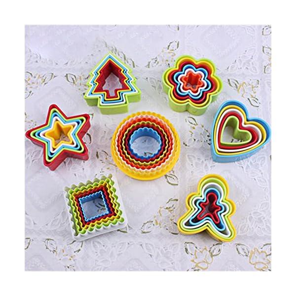 Everpert 1 set Cookies Cutter Frame Cake Mould DIY Star Tree Round Heart Flower Mold