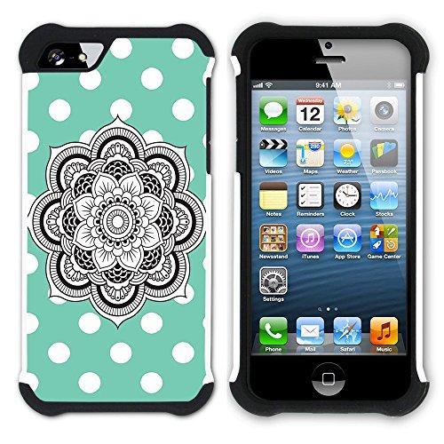Graphic4You Mandala Blume Punktmuster Tupfen Muster (Wasserblau) Hart + Weiche Kratzfeste Hülle Case Schale Tasche Schutzhülle für Apple iPhone SE / 5 / 5S Wasserblau