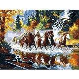 TWYYDP Puzzel Für Erwachsene 1000 Teile Pferde Rennen Im Wasser Wohnkultur Gemälde, Plakate