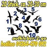 Warnvögel, Fensterschutz, 20 Stück, Vogel je ca. 20-30cm, Silhouette, Aufkleber, Farbe frei wählbar