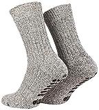 Piarini 2 Paar Stoppersocken mit Frotteesohle - ABS Socken Damen - Anti Rutschsocken mit Noppen aus Schafwolle - Wintersocken in grau Gr. 35-38