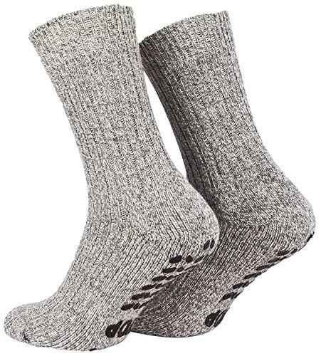 Piarini 2 Paar Stoppersocken mit Frotteesohle - ABS Socken Damen Herren - Anti Rutschsocken mit Noppen aus Schafwolle - Wintersocken in grau Gr. 39-42
