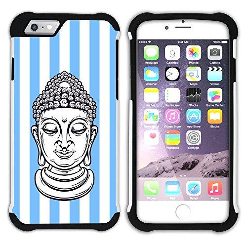 Graphic4You Buddha-Kopf Streifenmuster (Wasserblau) Hart + Weiche Kratzfeste Hülle Case Schale Tasche Schutzhülle für Apple iPhone 6 Plus / 6S Plus Schwarz