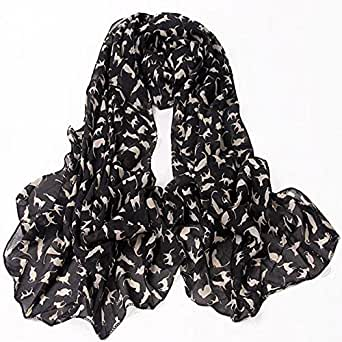 chinkyboo Fashion Ladies Scarf Shawls Cat Print Scraves 100% Chiffon Wrap - Black