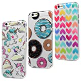 3x Funda iPhone 6s, iPhone 6 Carcasa Silicona Gel Case Ultra Delgado TPU Goma Flexible [Proceso IMD] No se descolora Anti-scrach Cover para iPhone 6/6s - Donuts + Corazones + Unicornio