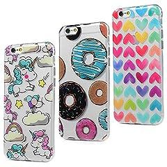Idea Regalo - 3x Cover iPhone 6S, iPhone 6 Custodia Silicone Ultra Sottile Antiscivolo Antiurto [Processo IMD] [Non Svanisce] [Antigraffio] Slim Bumper Case per iPhone 6/6S, Donuts + Cuori + Unicorno