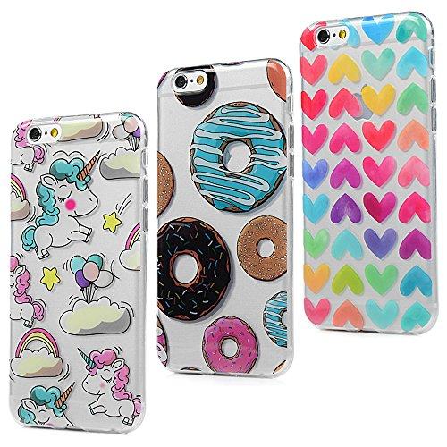 3x cover iphone 6s, iphone 6 custodia silicone ultra sottile antiscivolo antiurto [processo imd] [non svanisce] [antigraffio] slim bumper case per iphone 6/6s, donuts + cuori + unicorno
