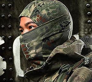 Multi-Function Extérieur Airsoft Tactique Militaire Masque Chapeau Cagoule Coupe-Vent Visage Complet Motif de Python Camo