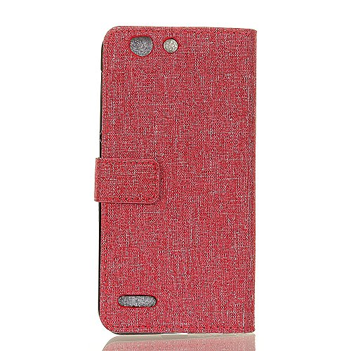Stoff Textur Muster PU Leder Geldbörse Fall, Retro Style Flip Stand Case Cover mit Card Slots & Kickstand für Vodafone Smart E8 ( Color : Red ) Red