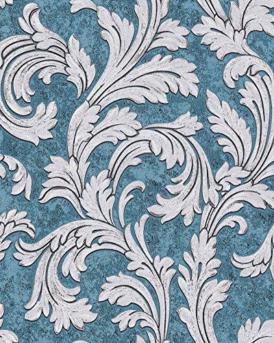 Barock Tapete EDEM 1032-12 Vinyltapete glatt mit Ornamenten und Metallic Effekt blau petrol silber...
