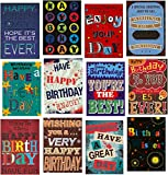 Pack of 12 Large Fonts Trendy Design Birthday Greeting Cards & Envelopes for men/male