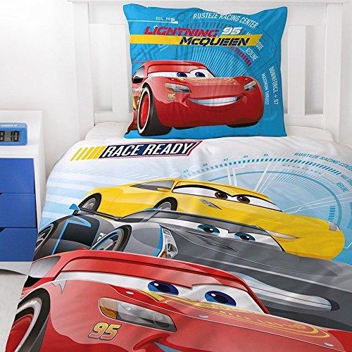 CARS Kinder Bettwäsche Sommerbettwäsche · Disney Pixar Cars 3 · RACE READY Auto Motiv Wende Design in blau, rot · 2 teilig · Kissenbezug 80x80 + Bettbezug 135x200 cm - Renforce cars bettwäsche 135 x 200 baumwolle