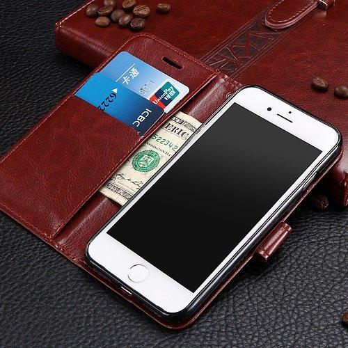 Wkae Case Cover iPhone Case 7, solide motif de couleur cas de style portefeuille magnétique de conception Flip Folio PU couverture en cuir cas de couverture standup pour iPhone 7 by DIEBELLEU ( Color  Black