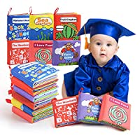 BeebeeRun Cloth Books Baby Toy, 6 Set Non-Toxic Fabric Soft Clothing Book Educational Toys Gifts for 1 Year Old Babies Infants Toddlers