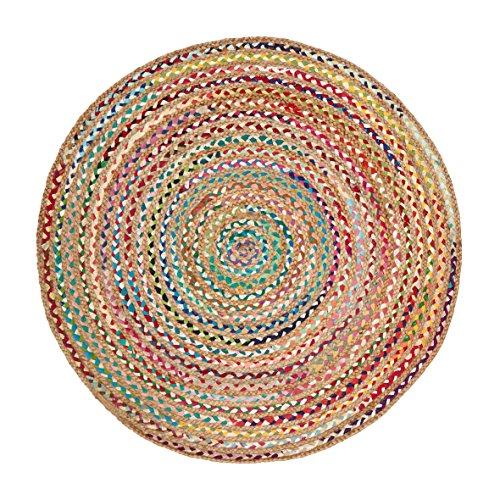 Green Decore Handgefertigte geflochtene runde Naturfaser Jute Teppich, Natur (200 cm Durchmesser, Fusion Mehrfarbig)