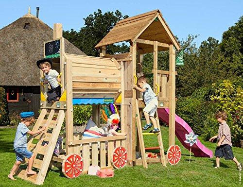 Club Train Fuchsie | Jungle Gym Garten Kinder Holz Spielgeräte mit Rutsche