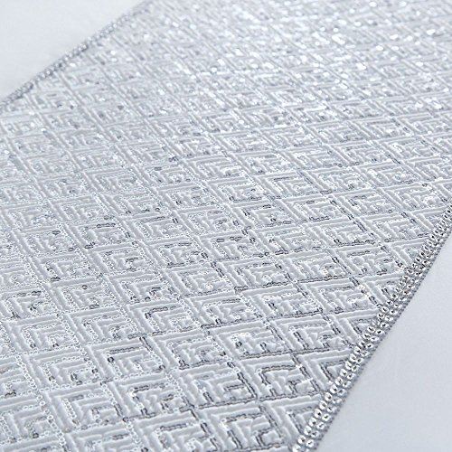 Tony's Textiles White Shimmer Sequin Diamante Filled Faux Silk Boudoir Cushion (Standard)