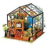 ROBOTIME Puppenhaus Bausatz Holz Modell Set Möbliert Zimmer, Selbermachen Basteln Konstruktion BAU Kit Spielzeug für Kinder, Mini Diorama Handgefertigt mit Licht
