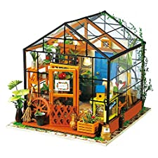 Robotime Miniature 3d Greenhouse Craft Kits for Adults - Wooden Dolls House with Furniture and Accessories, Educational Toys for Girls - Mini Diorama House Renovation Creative Birthday for Women