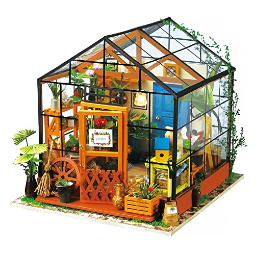 Robotime Wooden DIY Green House - Dolls Houses Model Kits Furniture Renovation - Woodcraft Construction Kit - Educational Toys, Mini Diorama Handmade Miniature House with Lights and Accessories-Flower House for Boys and Girls to Play - Creative Mother's D