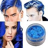 Coloration semi-permanente Cire pour Cheveux 7 couleurs professionnel teinture Unisexe DIY bricolage couleur de cheveux dye boue teinture crème modélisation teinture dye 120g,UFACE(Bleu)